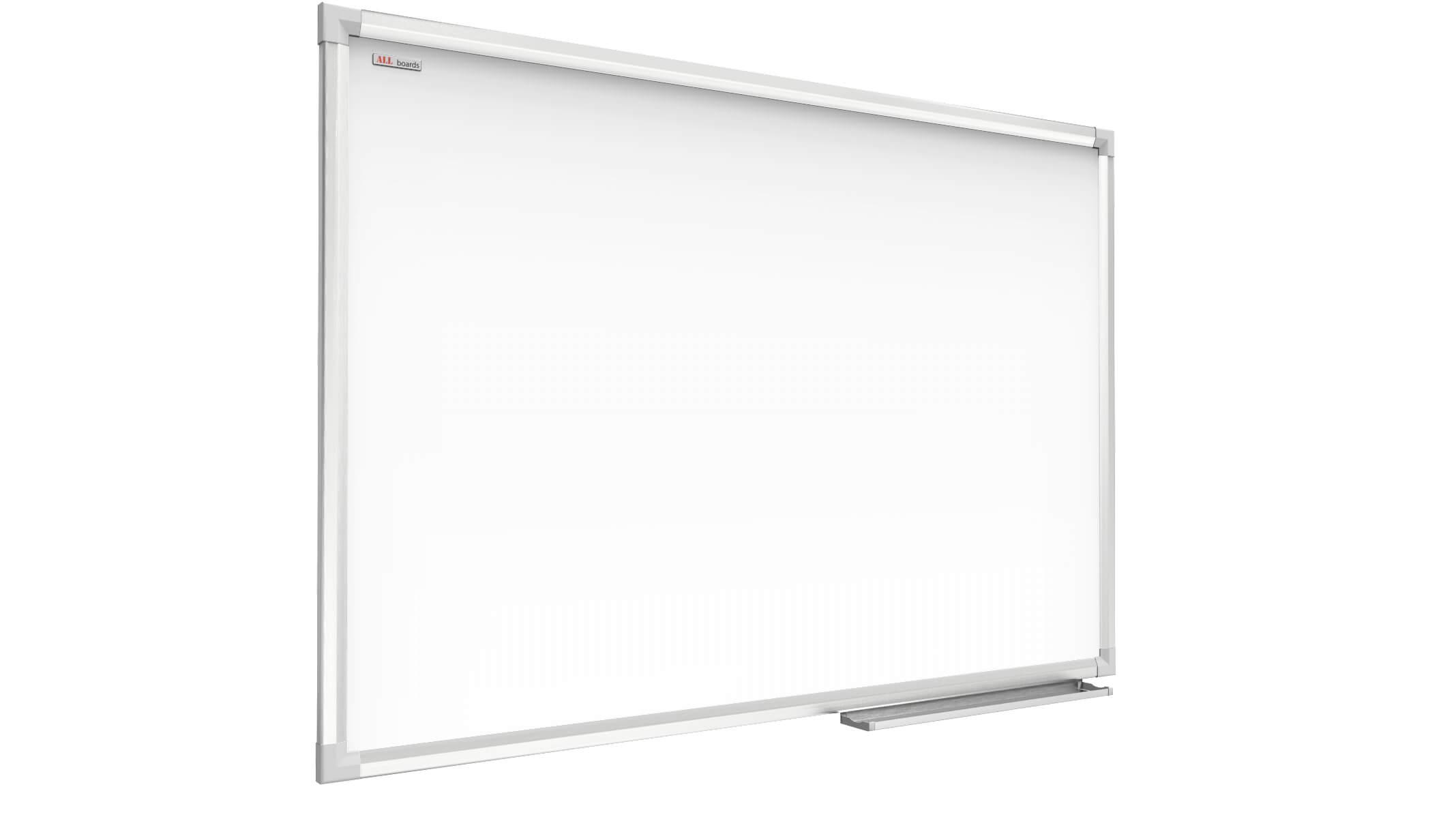 Vassoio Portapennarelli Superficie Laccata ALLboards Lavagna Bianca Magnetica Cancellabile a Secco Cornice in Alluminio Anodizzato 200x100 cm